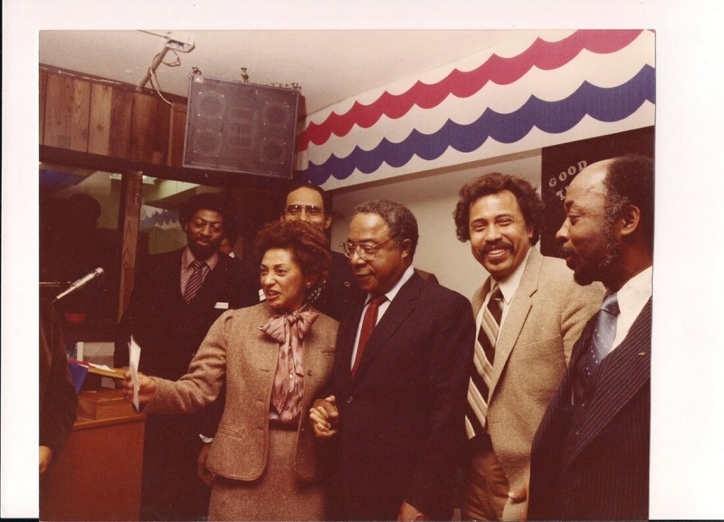 ABC hosting author of Roots, Alex Haley, (l to r) Sheldon Slade, JoAnn Overstreet, Hammed Ahmad, Alex Haley, Louie Overstreet, and Fred Johnson.
