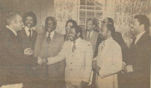 ABC members visits WH 1979 and meets with Louis Martin, special assistant to President Carter, (l to r) Louis Martin, famed Dr. Calvin Rolark, publisher of the Washington Post Informer, past ABC visitor, Louie Overstreet, George Taylor (Fairbanks), Frank Austin, Fred Johnson, Hameed Ahmad, and Sterling Taylor.