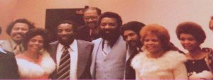Alaska Black Caucus' first nationally prominent guest, 1977 (L to R) Louie Overstreet, Dick Gregory, Hameed Ahmad, Leroy Williams -first president of Caucus, Jewel Jones, Tammie Townsend.