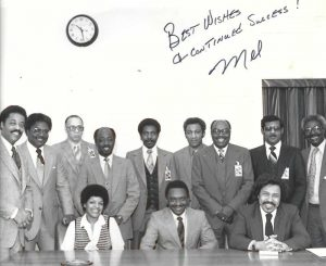 Visiting with President Regan, special assistant, Mel Bradley. Front row (l to r) Adrienne Weston, Mel Bradley, and Louie Overstreet, Back row (l to r) Sterling Taylor, Walt Furnace, Jim Williams, Fred Johnson, George Harrison, Willie Sykes, Herb Turner, Charles LeViege, Dr. Calvin Rolark.